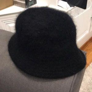 Black soft fuzzy hat